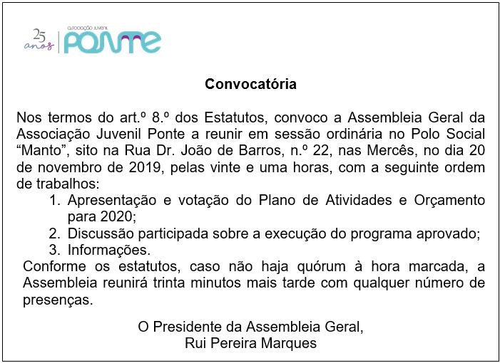 Assembleia Geral | 20 de Novembro